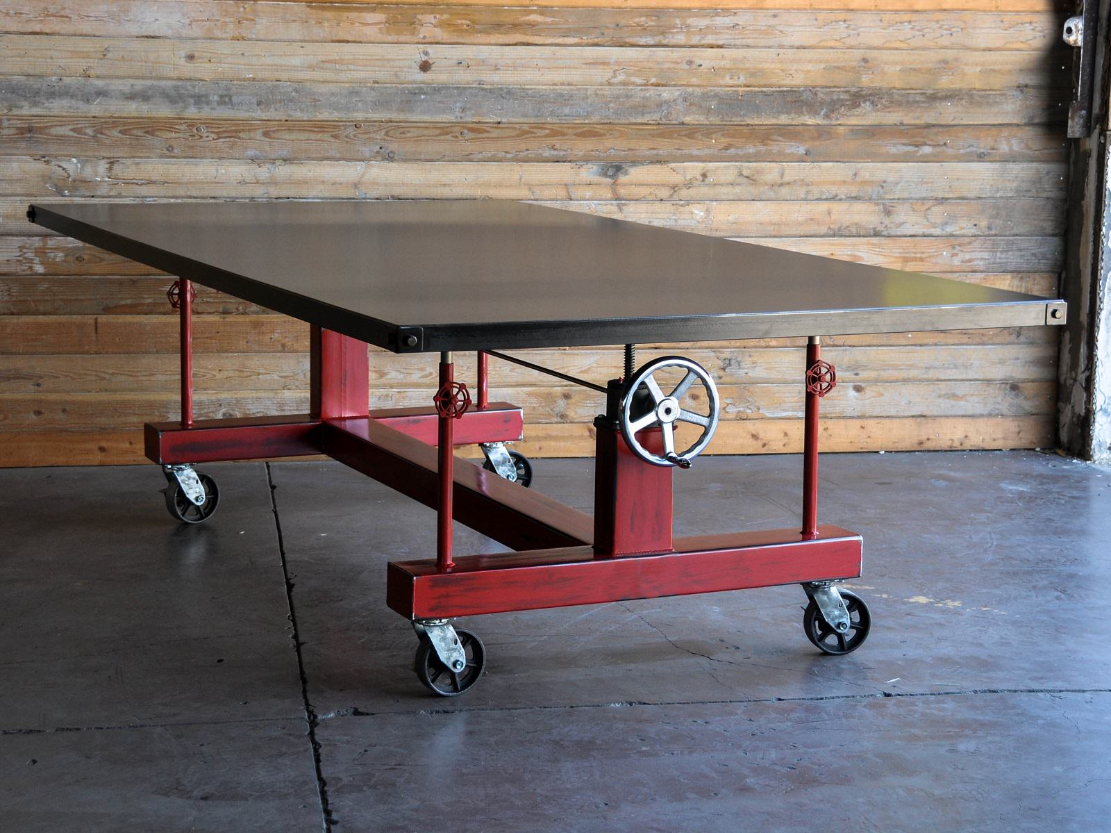 Crank table vintage industrial furniture crank table geotapseo Image collections