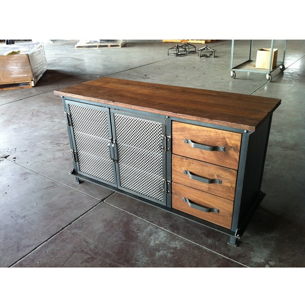 Ellis console with drawers vintage industrial furniture - Muebles de cocina de hierro ...