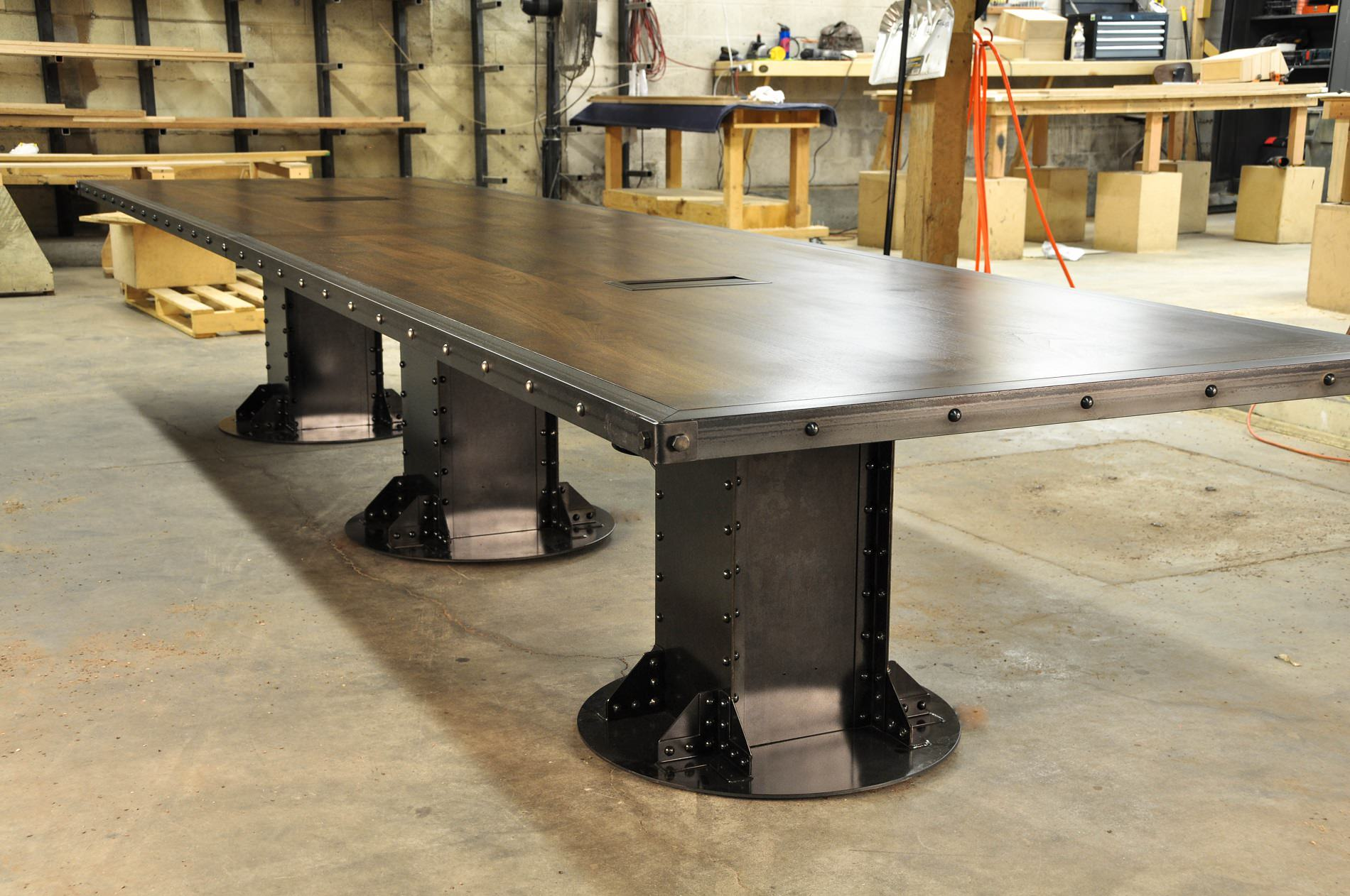 Post industrial conference table vintage industrial furniture - I Beam Conference Table