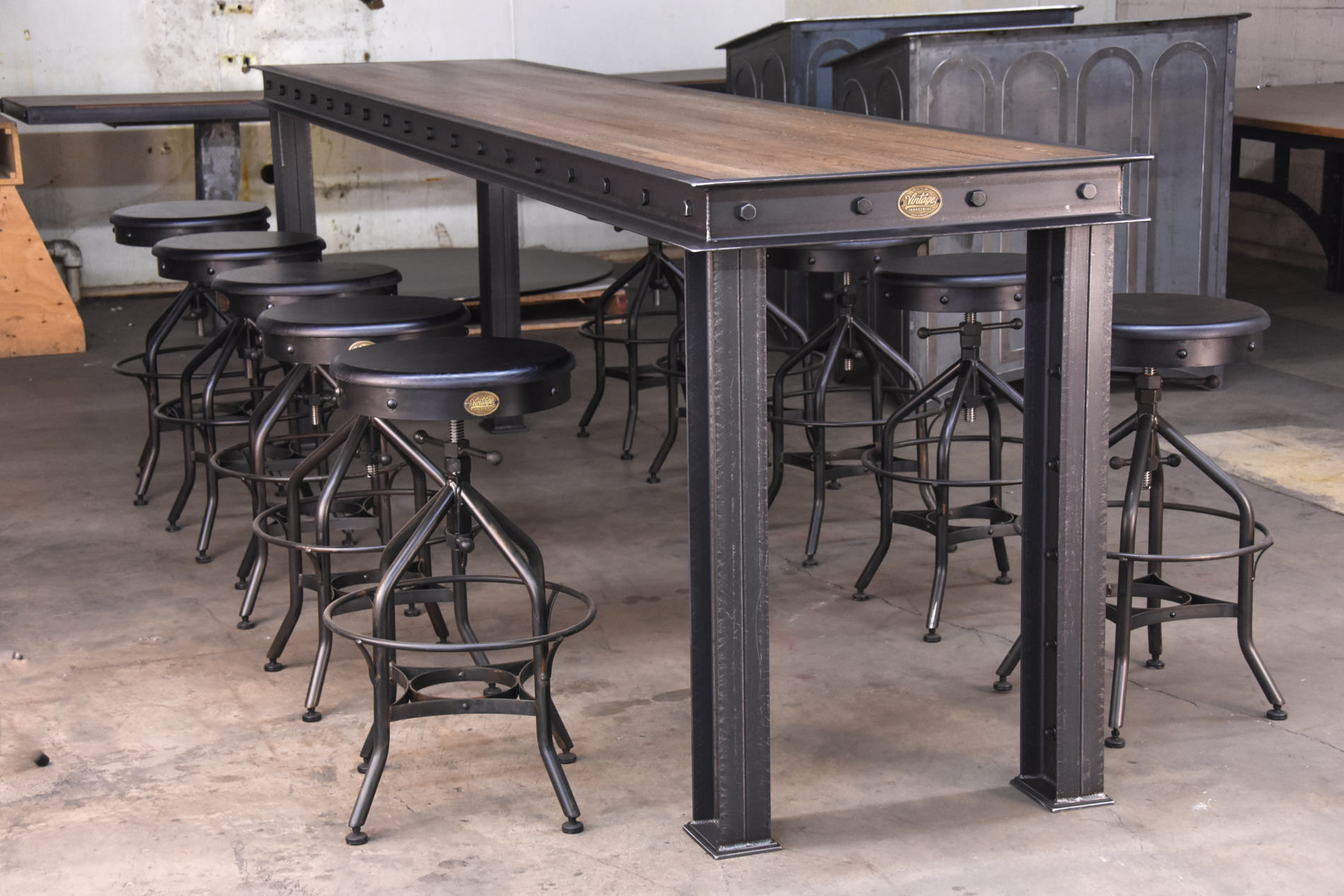 dining tables vintage industrial furniture. Black Bedroom Furniture Sets. Home Design Ideas