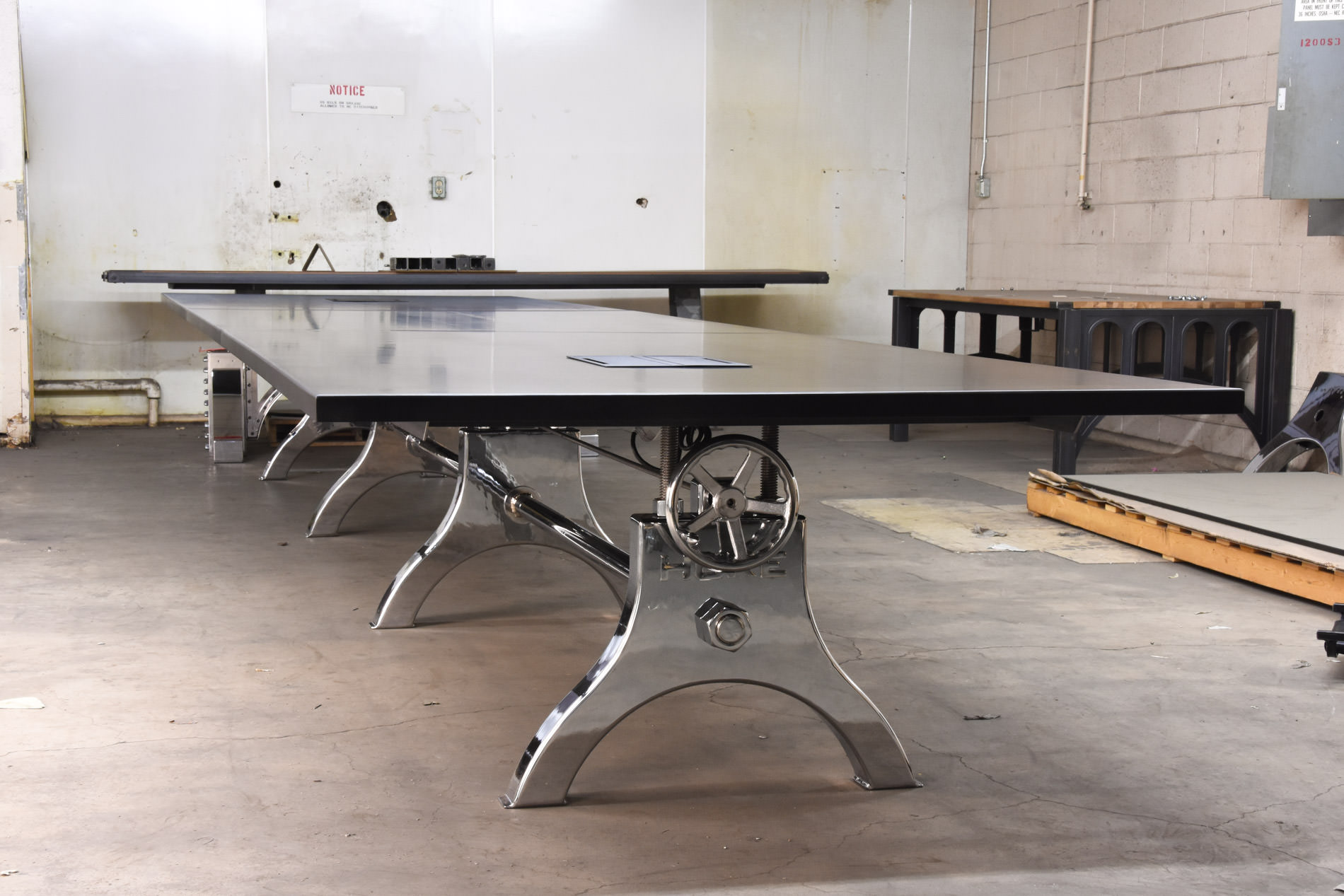 Hure conference table with faux crank vintage industrial furniture - Chrome Hure Conference Table With Faux Crank